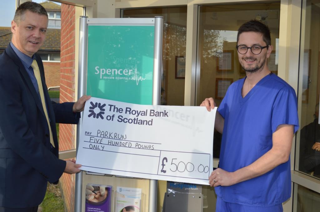 Spencer Private Hospitals donates money to Margate parkrun UK